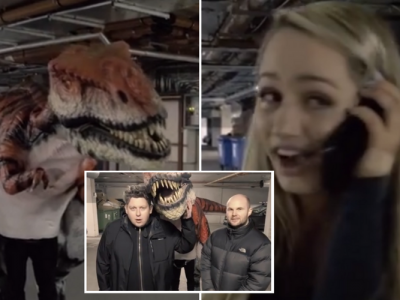 FM104's Strawberry Alarm Clock Dinosaur Prank